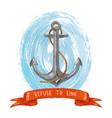 sea anchor and ribbon vector image