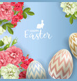 3d easter egg and roses background vector image