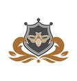 abstract bee shield logo vector image vector image