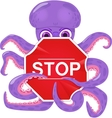 An octopus with a stop sign