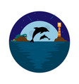 background with sea dolphin lighthouse and moon vector image