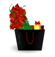 bag gift and roses vector image vector image