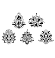 black and white floral motifs persian style vector image vector image