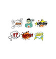 bright comic templates set speech bubbles text vector image