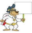 cartoon bear entertainer holding a sign vector image vector image