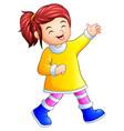 cartoon happy girl in winter clothes vector image vector image