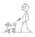 cartoon of tough man walking with poodle dog on a vector image