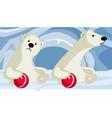 cartoon polar bear playing with a ball vector image vector image