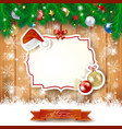 christmas background with label hat and baubles vector image vector image