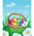 colorful easter eggs in basket on meadow vector image