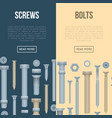 construction shop flyers with realistic bolts vector image