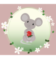 Cute Mouse eating strawberry vector image