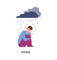 desression mental disorder sad man under raining vector image vector image