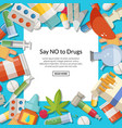 drugs types background with white square vector image vector image