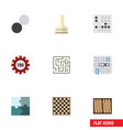 flat icon entertainment set of labyrinth pawn vector image vector image