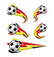 football black yellow red and soccer symbols set vector image vector image