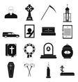 Funeral and burial black simple icons vector image vector image