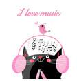 funny cat in headphones vector image vector image