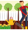 gardener working with rake and watering can vector image