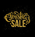 gold merry christmas sale handwritten lettering vector image