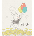 hand drawn rabbit with colorful balloons on floral vector image