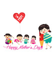happy mother day kid drawing with pencil vector image vector image