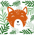 head of cute animal with plants vector image vector image