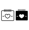 heart calendar day line and glyph icon love date vector image vector image