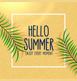 hello summer lovely beach background with leaves vector image vector image