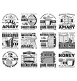 honey and beekeeping apiary farm icons set vector image