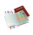 international passport with slovakia visa vector image vector image