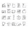 kitchen appliances and kitchenware icons vector image vector image
