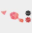 mosaic tahiti and moorea islands map cog items vector image vector image