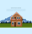 mountain house swiss style card landscape vector image vector image