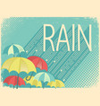 rain poster background with stylish text and vector image vector image