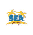 sea journey icon palm trees and coast vector image