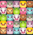 seamless pattern with cute colorful square animal vector image