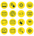 set of 16 seo icons includes video player vector image vector image