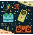Set of musical and space elements vector image vector image