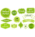 set of organic fresh eco labels vector image vector image