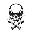 skull and crossbones in grunge style vector image vector image