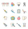 stomatology dental icons set cartoon style vector image vector image
