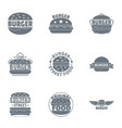 street cheeseburger logo set simple style vector image vector image