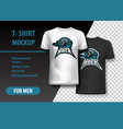 t-shirt mockup with hard rock and skull phrase in vector image vector image