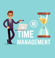 time management business concept with cartoon vector image