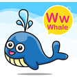 W Whale color cartoon and alphabet for children to vector image vector image