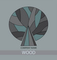 wood icon concept of a stylized tree with leaves vector image vector image