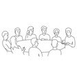 round table talks team business people meeting vector image