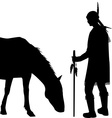 American Indian silhouette with horse vector image