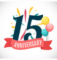 anniversary 15 years template with ribbon vector image vector image